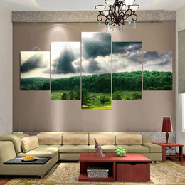 Wholesale Canvas Oil Painting Landscape Forest - 5 Panel Modern (No Frame) Forest Canvas Oil Painting Art Pintura Cuadros Decoracion Schilderij Wall Pictures For Living Room
