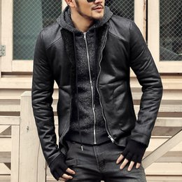 Wholesale Wool Lined Leather Jacket - Wholesale- Fashion Black winter Mens short coat wool fur lining slim fit PU leather jackets men brand motorcycle leather jackets men coats