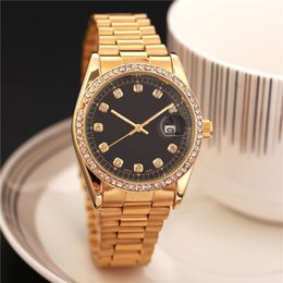 Wholesale Diamond Male Watch - High quality designer Automatic calendar men watch top brand luxury black watches diamond fashion Male clock rose gold stainless steel