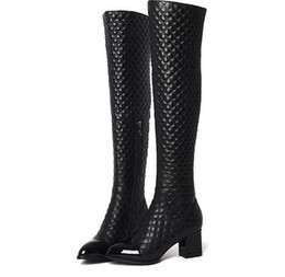 Wholesale Thick Punk Boots - Women winter Genuine Leather boots Top Quality Fashion Brand Ladies Sexy Stitching lattice Punk rivet Thick heel Pointed zipper kneeboot