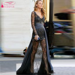 Wholesale Gossip Girl Fashion Blake - Blake Lively Gray Lace Evening Dresses Prom Dress Gossip Girl Fashion Gown Long Sleeve V-Neck illusion Evening Gowns impaortant Party Dress