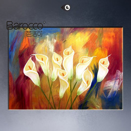 Wholesale Oil Painting Single Flowers - Pure hand painted bright color flowers oil painting on cavas modern abstract oil painting home wall art decoration gift
