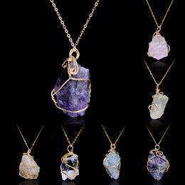 Wholesale Diamond Stone Pendant - Handmade Irregular Amethyst Citrine Wire Wrapped Pendant Necklace Women Natural Stone Crystal Quartz Necklaces fashion