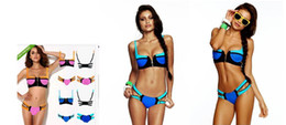 Wholesale Neon Bathing Suits - AAA New Arrived Unique Sexy Zipper Push Up Pad Bandage Bikini Set, Sexy Women Neon Swimwear Beachwear, Vintage Swimsuit Bathing Suit