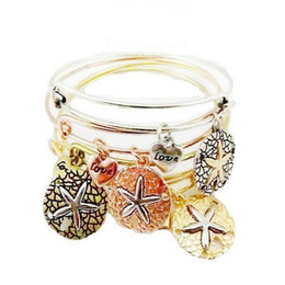 Wholesale Starfish Jewelry Sets - hot sale fashion jewelry european popular metal Alloy Expanded retro cute starfish diamond diy charm bangle bracelet
