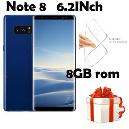Wholesale Camera Back Box - 6.2HD Note8 Phone 1GB Ram 8GB Rom Smart Phone MTK6580A Quad Core Mobile Phone 1280*720 8MP Rear Camera Sealed Box show 4G 64G 4G LTE