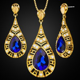 Wholesale Gold Sapphire Earring - Europe and the United States Austrian blue crystal new jewelry set gold-plated crystal jewelry crystal necklace earrings S20097 Ms. jewelry