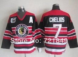 Wholesale Low Price Throwback Jerseys - In Low Price!!!Chicago Blackhawks Jerseys #7 Chris Chelios Vintage Hockey Jersey CCM with 75 Anniversary Patch Throwback cheap i