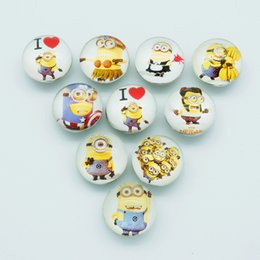 Wholesale Bracelet Minion - Hot sale Beauty NB0066 cute minions Mixed 18MM Photo Glass cabochon Ginger snap buttons for DIY ginger snap jewelry bracelet Accessories