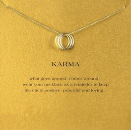 Wholesale Three Circles Pendant - Dogeared Karma Three-Ring Necklace For Women Fashion Clavicle Jewelry