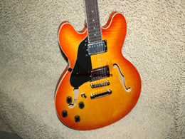 Wholesale Left Handed Jazz Electric Guitar - Free Shipping Left Handed Tangerine Flame 335 Jazz Electric Guitar Custom Shop Electric Guitar