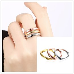 Wholesale 14k Yellow Gold Wedding Bands - Simple Smooth Vintage 3 Color Round Elegant Finger Ring set 18K Gold Plated Fashion Brand Punk Fine jewelry For Women 3pcs set