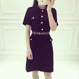 Wholesale Basic Dresses - 2017 autumn winter vintage classic basic turn down collar high waist sashes pocket mini office ladies black pencil dress women