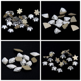 Wholesale Diy Rhinestone For Cell Phones - 50pcs Crystal Clear Strass Rhinestones Imitation Many Shape Gold Backing Glass Stones For Nails Art Cell Phone Case Use Glue DIY