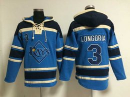Wholesale Cheap Quality Jackets - Top Quality ! Cheap Tampa Bay Rays Old Time Baseball Jerseys #3 Evan Longoria Blue Baseball Hoodie Pullover Sweatshirts Winter Jacket