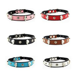 Wholesale High Quality Collar Necklace - Cool Unique Design Skull Pets Collar PU Leather Pet Dog & Cat Collars Adjustable Animals Necklace High Quality DCBH55