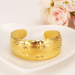 Wholesale Bridal Presents - 29mm 65MM Wide Bangles Women's 9k Yellow Solid Gold Filled Dubai Jewelry Star Bangle Open Bracelets Bridal Gift Mom Present