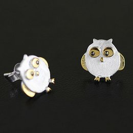 Wholesale Small Owl Stud Earrings - S925 New Cute Owl Earrings Silver frosted drawing small animal Earrings CE059