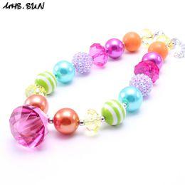 Wholesale Wholesale Diamond Beads - MHS.SUN Multicolor Design Kid Chunky Necklace Diamond Pendant Bubblegum Bead Chunky Necklace Children Jewelry For Toddler Girls