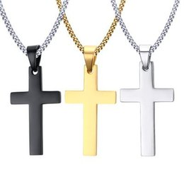 Wholesale christian gold pendants - MCW Religion Style Pendant 35MM Titanium Steel Necklace Christian Cross Pendant Necklace for Men and Women Three Colors
