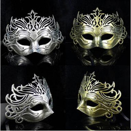 Wholesale Hot Pink Masquerade Masks - Hot Men Retro Crown Design Masquerade Masks Gold Silver Halloween Party Carnival Half Face Masks Graduation Halloween Celebrations Show Mask