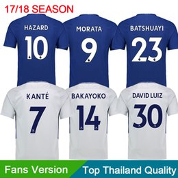 Wholesale Cheap Customized Soccer Jerseys - Wholes Cheap 17-18 Home blue Thai Quality Soccer Jerseys,Customized Name Number 9 Morata 10 Hazard 4 Fabregas 30 David Luiz football Wear
