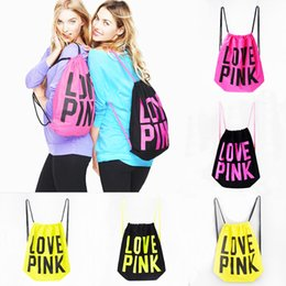 Wholesale Types School Bags - Love Pink Drawstring Bag Backpacks Women Vs LOVE PINK School Bags Pink Letter Storage Bags Fashion Canvas VS Handbags Shopping Bags