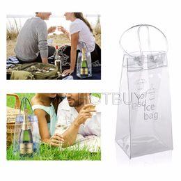 Wholesale Picnic Wine Cooler - Rapid Ice Wine Cooler PVC Beer Cooler Bag Outdoors Ice Jelly Bag Picnic CoolSacks Wine Cooler Chillers Frozen Bag Bottle Cooler #4114