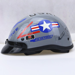 Wholesale Open Face Cross Helmet - Free shipping harley Motor Cross Helmet Vintage Style Open Face Half Motorcycle Capacete Motorcycle Helmet Visor