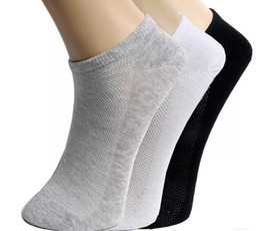 Wholesale Mens Print Underwear - Mens Casual Socks Pure Colors Sports Mesh Short Boat Socks for Men Polyester Breathable Socks Clothing Underwear