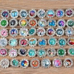 Wholesale Glass Diamond Buttons - 18MM Tree of Life Butterfly Pearl Rhinestone Diamond Glass Snaps Chunk Charm Button Fit For 18MM Noosa Leather Bracelets