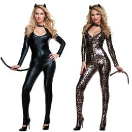 Wholesale Leopard Sexy Costume - Cosplay Ladies Cougar Catsuit Fancy Dress Costume Sexy Leopard Jungle Cat FANCY dress Outfit S138