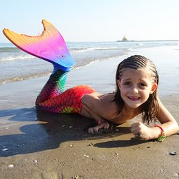Wholesale Little Girls Mermaid Costumes - 2017 Fairy Swimmable Swimwear Cosplay Costumes Baby Girl Kids Little Mermaid Tail Funny With Monofin Fun Party