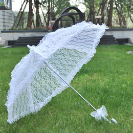 Wholesale Wedding Accessories Wholesale Lace Umbrella - White Lace Sun Umbrella Girl Women Parasol Lady Carry Bumbershoot Wedding Party Events Ornament Crafts Accessories