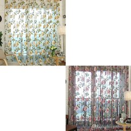 Wholesale Valance Windows - 1Pc Voile Door Curtain Window Room Drape Panel Floral Peony Scarf Sheer Valance Sheer Curtains E00628 SMAD