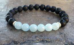 Wholesale Fashion Beaded Bracelets - SN1064 High Quality Volcanic Lava Aquamarine Bracelet Fashion Natural Stone Mens Bracelet New Design Yoga Bracelet
