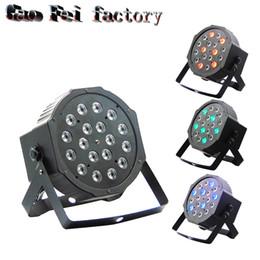Wholesale Power Equipments - (4 pieces lot) LED Par Lights 18x3W 60W High Power RGB Par Light With DMX512 Master Slave Led Flat DJ Equipments Controller