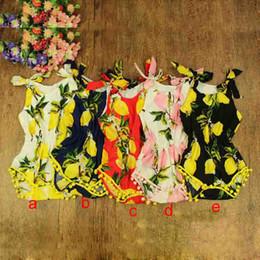 Wholesale Toddlers Romper Patterns - 2016 New Lemon Pattern Baby Clothes ,Pom Baby Girls Romper , Lemon Toddler girls Summer Kids Clothes ,0-3T Toddler Playsuit