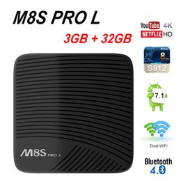 Wholesale Dual Core Tv - Amlogic S912 Android 7.1 TV Box Mecool M8S Pro L 3GB 32GB Octa Core Netflix Dual Band Wifi Youtube 4K Media Player KD17.3 Full Loaded