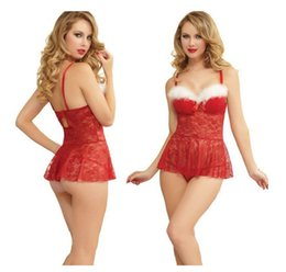 Wholesale Sexy Couple Underwear - Fashion Ladies Sexy Underwear For Girls Xams Decoration Couple Cosplay Women Red Perspective Pajamas Santa Claus