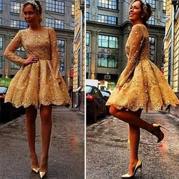 Wholesale Vestidos Homecoming Cortos - Gold Lace Long Sleeves Homecoming Dresses Short Mini Party Cocktail Gowns Vestidos de fiesta cortos 2017 8th Grade Prom Dress