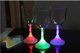 Wholesale Glow Party Cups - LED Flash Wine Cup Colorful Changed Glow Goblet Cups For Bar Wedding Christmas Party Table Ornaments halloween Party Night Bar Wedding