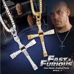 Wholesale Dominic Toretto Chain - The Fast And The Furious Dominic Toretto Vin New Movie Jewelry Classic Rhinestone Pendant Sliver Cross Necklaces Men 2016