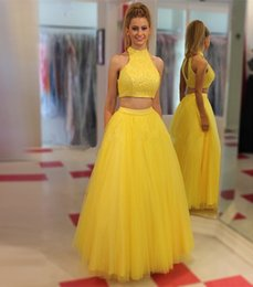 Wholesale Christmas Petite Dresses - Banana Long 2 Piece Colorful Prom Dresses Lace Tulle Special Occasion Sexy Cheap High Neck Party Christmas For Girls