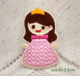 Wholesale Pink Motif Dress - cute girl princess dress pink motif iron-on HOTFIX patch applique embroidery Cartoon Shirt Kids Toy Gift baby Decorate Individuality 10pc