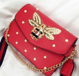 Wholesale Rhinestone Leather Bags - designer women handbags novelty new Rhinestone chain bag elegant woman bee pearl decorative leather shoulder bag
