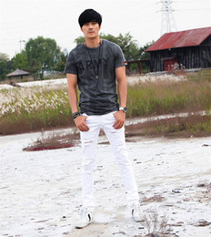 Wholesale Pencil Selling - Hot Sell White Ripped Jeans Men With Holes Super Skinny Famous Designer Brand Slim Fit Destroyed Torn Jean Pants For Male
