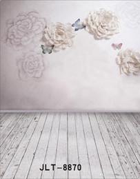 Wholesale Indoor Vinyl Backdrop Computer - Indoor Flowers Wooden Floor Wedding Children Vinyl Photography Background Computer Printed Photography Backdrop for Photo Studio