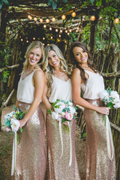 Wholesale Cheap Chiffon Maxi Skirts - Cheap Country Rose Gold Sequins maxi skirts and strap white tops Bridesmaid Dresses V-Neck Sleeveless Two Pieces Dresses for Bridesmaid Long