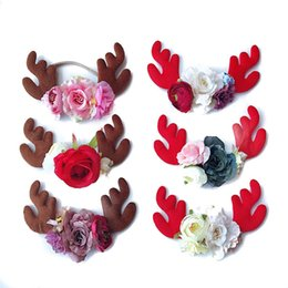 Wholesale Red Baby Christmas Headband - 6 colors baby girl Europe and the United States children's Christmas hair accessory Elk horn coffee red hair band Flower Headband free ship
